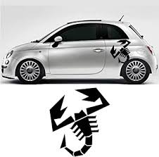 Amazon Com 1pcs For Fiat 500 Abarth Scorpion Car Bonnet Side Stripes Stickers Decal Graphic Car Styling Abarth 500 Black Automotive