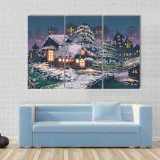 Christmas Night Scene Of Wooden Houses Multi Panel Canvas Wall Art Tiaracle