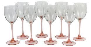 set of blush pink stemmed wine glasses