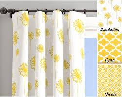 Yellow White Window Curtains Yellow Dandelion Etsy