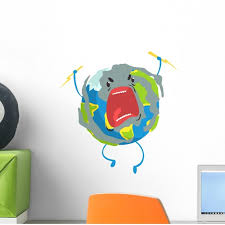 Angry Cartoon Planet Earth Wall Decal Wallmonkeys Peel And Stick Decals For Boys 12 In H X 12 In W Wm502818 Walmart Com Walmart Com