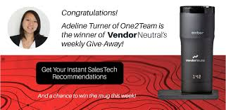 """vendor-neutral on Twitter: """"Congratulations! Adeline Turner of @o2tus, is  week two winner of Vendor Neutral's """"Heat Up Your Salestech Selection  Process Contest"""". Only """"2"""" Weeks Remaining, Enter Today!  https://t.co/77cowN4zJ5 #ember… https://t.co ..."""