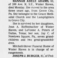 Obituary for HANNAH ADELE ADAMS (Aged 81) - Newspapers.com