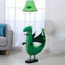 Dinosaur Fabric Standing Floor Light Cartoon 1 Bulb Green Stand Up Lamp For Kids Bedroom Beautifulhalo Com