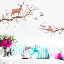 Shop Follure Vinyl Decal Sika Deer Flowers Birds Removable Home Decor Wall Stickers Art Mural Online From Best Wall Stickers Murals On Jd Com Global Site Joybuy Com