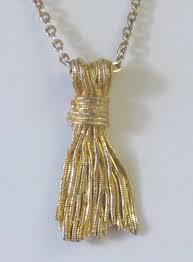 gold tone tassel pendant necklace