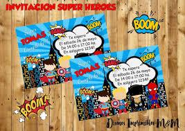Invitacion Imprimible Digital Super Heroes 120 00 En Mercado Libre