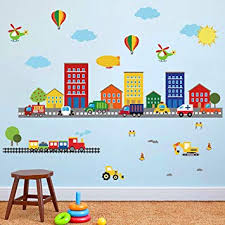 Amazon Com Decalmile Construction Kids Room Wall Decals Transportation Cars Wall Stickers Baby Nursery Childrens Bedroom Playroom Wall Decor Kitchen Dining