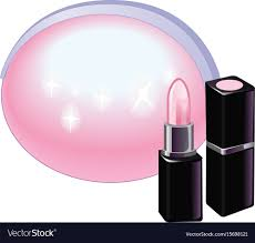 pink lipstick with pink cosmetic bag