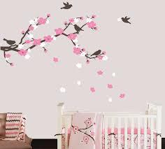Cherry Blossom Branch And Birds Wall Decal Cherry Blossom Wall Decals Nursery Wall Decals Kids Vinyl Decal Set Baby Girl Nursery Decor Tweet Heart Home Design