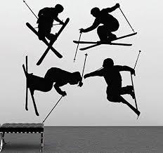 Amazon Com Skiing Wall Decal Ski Vinyl Stickers Ski Decal Skier Art Decal Ski Jumping Freestyle Sports 675u Home Kitchen