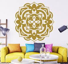Free Shipping Gold Mandala Flower Wall Decals Yoga Ganesh Om Namaste Vinyl Sticker Bedroom Decor Art Mural 57x57cm A 53 Flower Wall Decals Bedroom Decordecoration Art Aliexpress