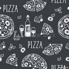 seamless pattern with pizza for