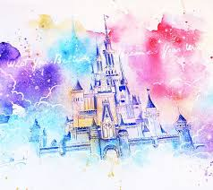 dream castle watercolor painting by