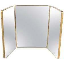 oversize italian brass tri fold mirror