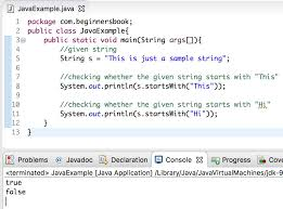 java string startswith method with