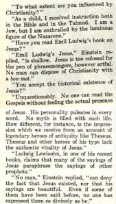 did einstein comment on feeling the presence of jesus while
