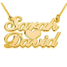 24k gold plated silver 2 name necklace