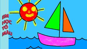 Tô màu tranh Nắng vàng Biển xanh Thuyền buồm lướt sóng - YouTube