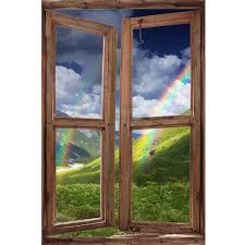 Window Wall Mural Rainbow In The Mountains Peel And Stick Fabric Illu Royalwallskins