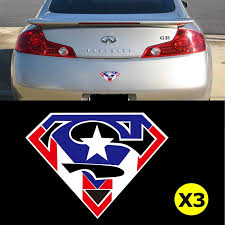 3pcs Superman Fan American Flag Logo Car Window Die Cut Graphic Vinyl Xotic Tech