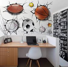 Amazon Com U Shark 3d Self Adesive Removable Break Through The Wall Vinyl Wall Stickers Murals Art Decals Decorator Kid S Favor 2080 Sports Basketball Football Soccer 50x70cm Arts Crafts Sewing