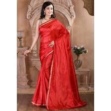 zoya clothing poly silk red plain saree