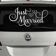 Just Married Car Decal Wedding Car Decorations Vinyl Written