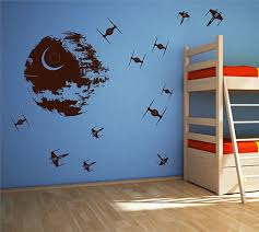 Ik2726 Wall Decal Sticker Death Star Star Wars Space Ships Nursery Tee Stickersforlife