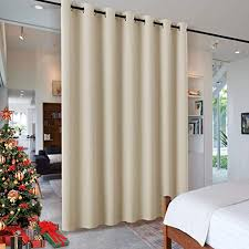 Amazon Com Ryb Home Wall Divider Curtain For Living Room Noise Reduction Privacy Curtain With Anti Rust Grommet Top Blackout Curtain For Living Room Kids Room 7 Ft Tall X 8 3 Ft Wide Cream Beige
