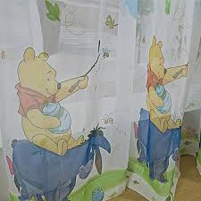Disney Pooh And Tiger Yellow Tulle Window Curtains For Kids Room