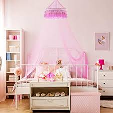 Amazon Com Goplus Princess Bed Canopy Premium Mosquito Netting Dome For Baby Kids Girls With Elegant Ruffle Lace Indoor Outdoor Castle Play Tent Baby Crib Netting Pink Baby