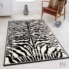 Handcraft Rugs Animal Skin Zebra Skin Print Rug Ivory And Black Contemporary Modern Area Rug Walmart Com Walmart Com