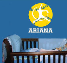 Ariana Softball Wall Decal Personalized Room Wall Art Custom Name Vinyl