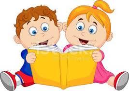 Kreslené Děti Čtení Knihy klipartové obrázky