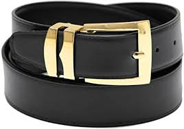 bonded leather gold tone buckle black