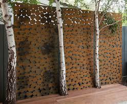 garden with metal artwork