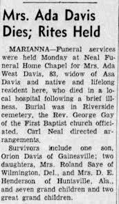 Obituary for Ada West Davis (Aged 83) - Newspapers.com