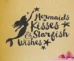 Amazon Com Mermaids Kisses And Starfish Wishes Little Mermaid Walt Disney Girls Kids Ocean Sea Beach Vi Mermaid Nursery Mermaid Kisses Wall Stickers Kids