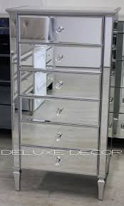 silver mirror 6 drawer mirrored narrow