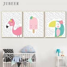 Scandinavian Style Poster Toucandots Flamingodots Cute Animal Wall Art Canvas Painting For Baby Room Kids Bedroom Children Decor Baby Room Paintings Baby Painting Baby Room Wall Decor