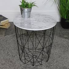 black white marble effect wire basket