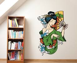 Japanese Geisha Vinyl Wall Decal Japanesegeishauscolor005 Contemporary Wall Decals By Vinyl Disorder Inc