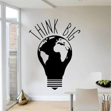 Think Big Idea Frase Wall Stickers For Office Room Vinyl Decal Mural Bedroom Sticker Adesivo De Parede Lw740 Wall Stickers Aliexpress