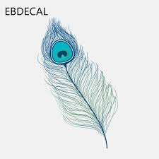 Ebdecal Ice Crystal Blue Peacock Feather High Quality For Auto Car Bumper Window Wall Decal Sticker Decals Diy Decor Ct5095 On Aliexpress