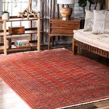 vintage fringe area rug in rust red