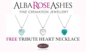alba rose ashes tribute heart pendant