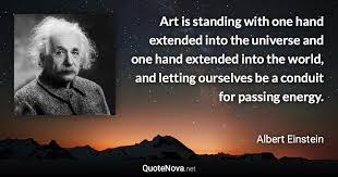 art is standing one hand extended into the universe and one