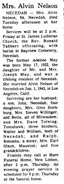 Death Notice for Adeline Nelson (nee May) - 10 Feb 1977 ...