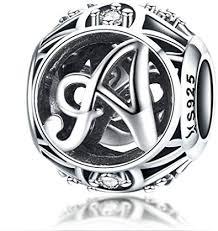 minijewelry initial letter a charm bead